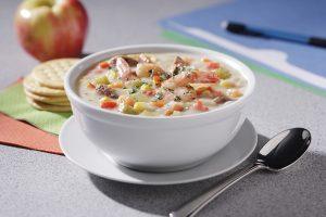 Bowl of Potato, Shrimp, Andouille and Corn Chowder