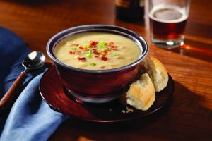 Bowl of Smoked Cheddar Amber Ale Soup