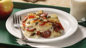 Plate of Smoked Sausage & Scalloped Potatoes