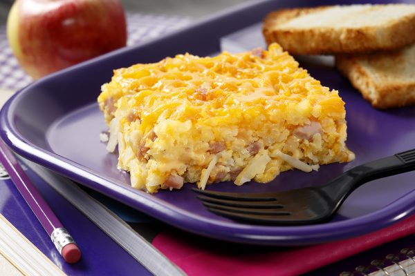 Ham, Egg & Cheese Hash Browns with Toast on a Tray