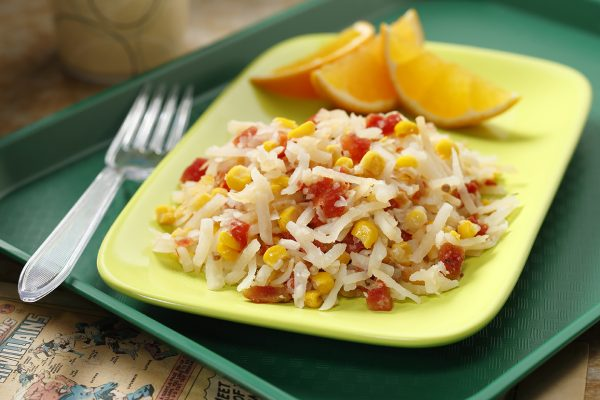 Tomato Corn Hash Browns on a Plate