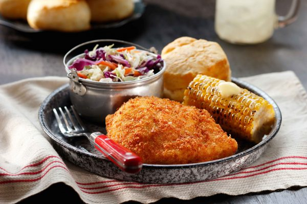 Gluten Free Breaded Fried Chicken with Corn on the Cob, coleslaw and a biscuit
