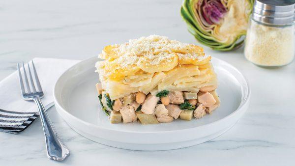 Chicken Artichoke and Spinach Potato Bake
