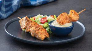 Greek Mashed Potato Dip with Chicken Skewers